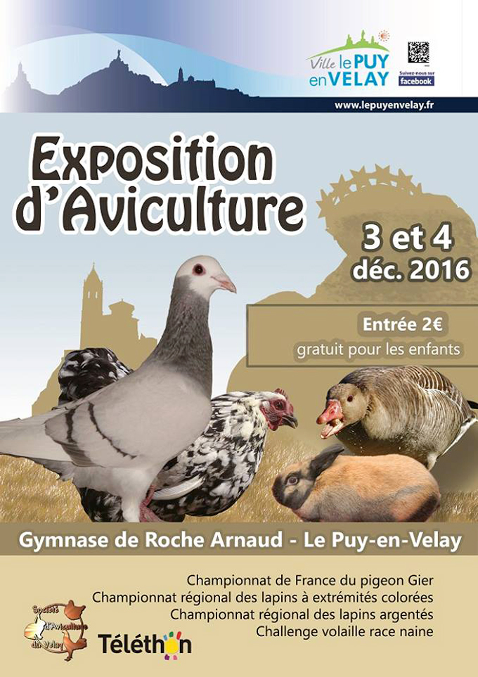 Exposition d'Aviculture au Puy en Velay (43), du samedi 03 au dimanche 04 décembre 2016