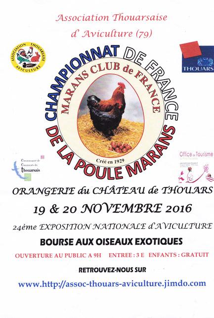 24 ème Exposition Nationale d'Aviculture et Bourse oiseaux exotiques à Thouars (79), du samedi 19 au dimanche 20 novembre 2016