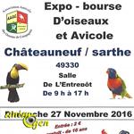 Expo-Bourse d'oiseaux et Avicole à Châteauneuf sur Sarthe (49), le dimanche 27 novembre 2016