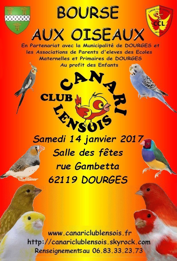 Bourse aux oiseaux à Dourges (62), le samedi 14 janvier 2017