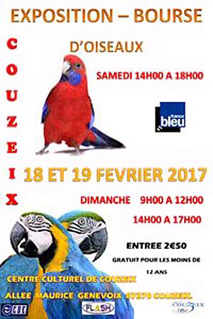 23 ème Bourse aux oiseaux à Couzeix (87), du samedi 18 au dimanche 19 février 2017