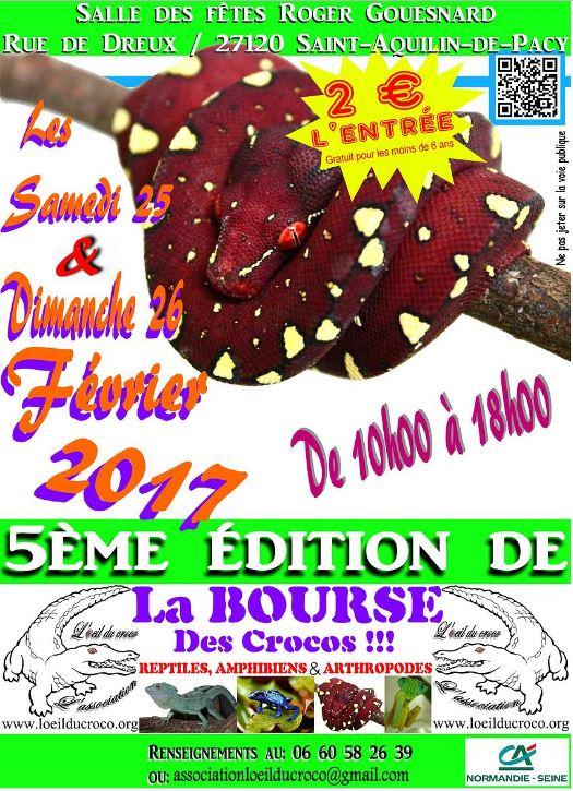 5 ème Bourse aux reptiles et amphibiens à Saint Aquilin de Pacy (27), du samedi 25 au dimanche 26 février 2017