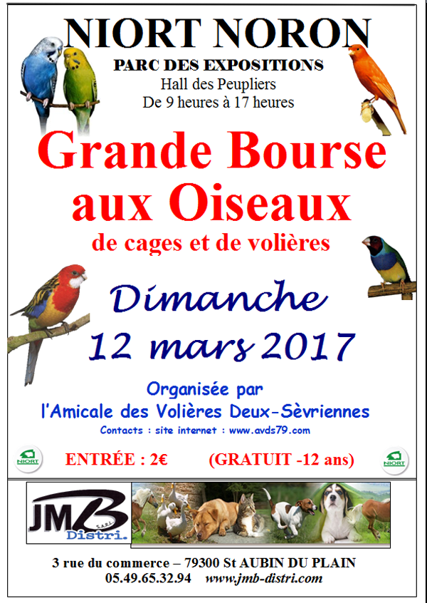 Bourse aux oiseaux à Niort-Noron (79), le dimanche 12 mars 2017