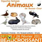 Exposition Nationale d'Aviculture à Beaucroissant (38), les vendredi 24, samedi 25 et dimanche 26 février 2017