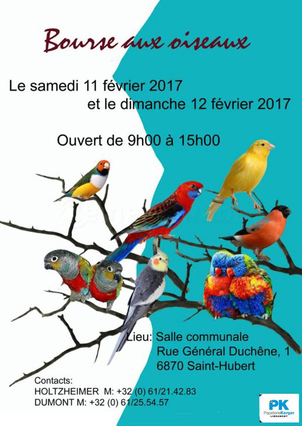 Bourse d'oiseaux à Saint Hubert (Belgique), du samedi 11 au dimanche 12 février 2017