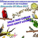 18 ème Bourse aux oiseaux exotiques de cages et de volières à Saint Loubès (33), le dimanche 26 mars 2017