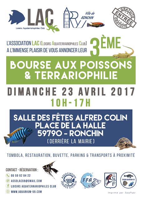 3 ème Bourse aux poissons et terrariophilie à Ronchin (59), le dimanche 23 avril 2017