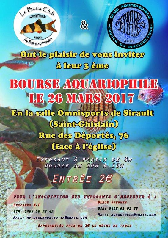 Bourse aquariophile à Saint Ghislain (Belgique), le dimanche 26 mars 2017