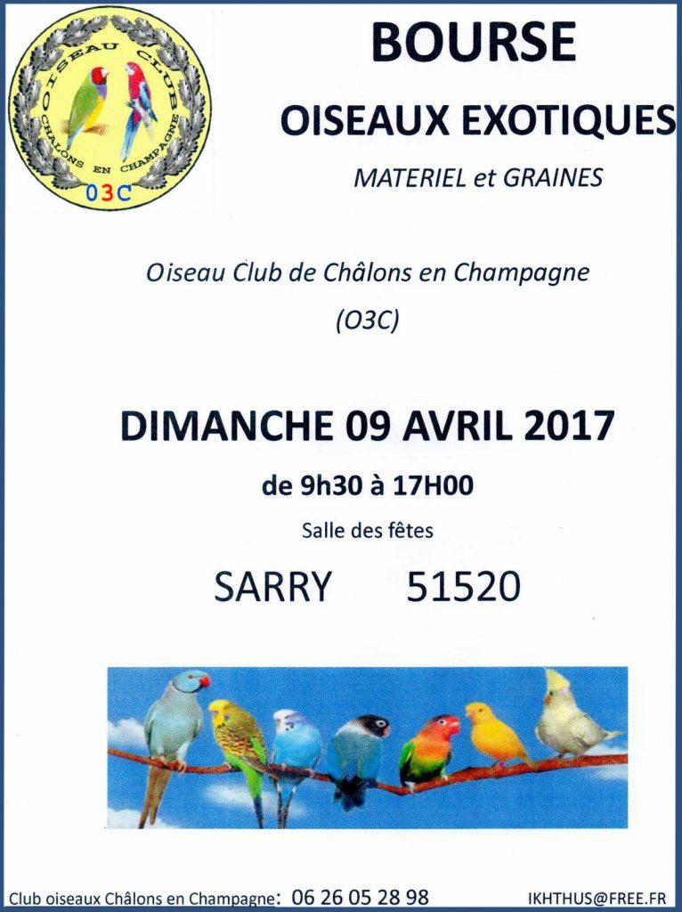 Bourse aux oiseaux exotiques à Sarry (51), le dimanche 09 avril 2017