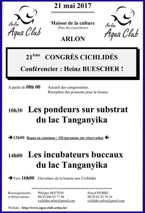 21 ème Congrès Cichlidés et 2 ème Bourse Terrario à Arlon (Belgique), le dimanche 21 mai 2017