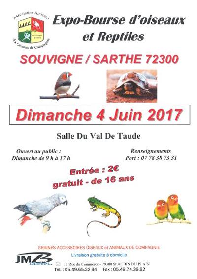 Expo-Bourse d'oiseaux et reptiles à Souvigné sur Sarthe (72), le dimanche 04 juin 2017
